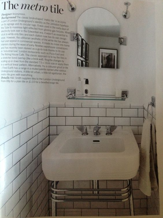 Metro tile in cloakroom cloakroom pinterest tile and for Metro tiles bathroom ideas