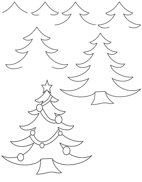 drawing christmas -tree | Drawing tutorials: Christmas ...