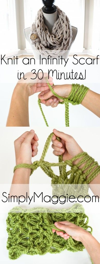 With Arm Knitting, you can knit an infinity scarf in 30 minutes or less! Use the basic, step by step instructions from Simply Maggie, the leading arm knitting expert. With both picture and video tutorials you'll have your first arm knit project complete in no time. SimplyMaggie.com