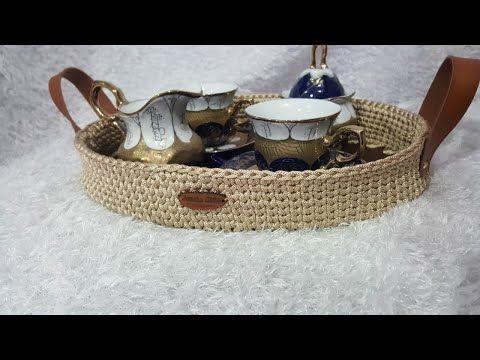 صينيه تقديم بقاعدة خشب بيضاوى وخيط القيطان صينيه خشب كروشيه Youtube Straw Bag Decorative Wicker Basket Make It Yourself