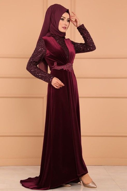 Modaselvim Abiye Pul Ve Tas Detayli Kadife Abiye Ygs6152 S Bordo Pakistani Fashion Fashion Formal Dresses Long