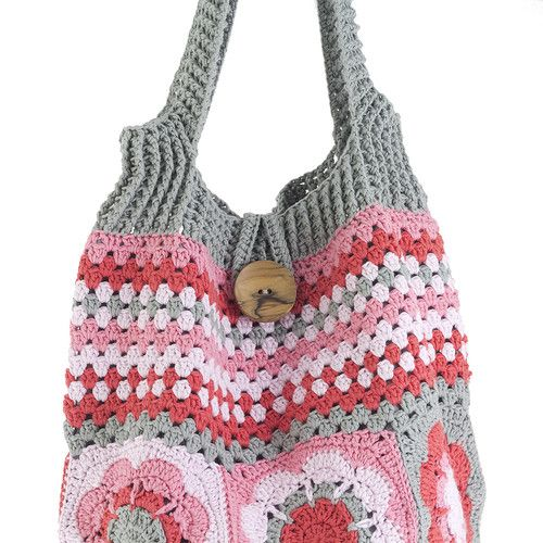Colorful flower and striped crochet shoulder bag - Refª 182