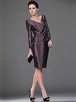 Two Piece Long Sleeved Knee Length Taffeta Mother of Bride Dress