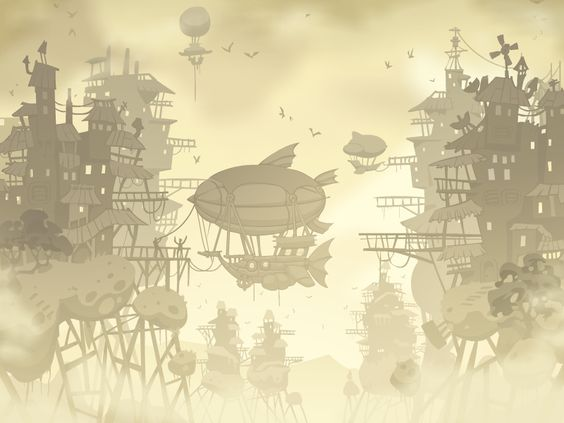 Floating steampunk city environment by Pykodelbi