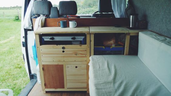 The campervan kitchen in our VW T4 Transporter is really taking shape. Photo by Natalie Coe (@Boo Bear Bean)