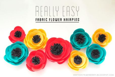 DIY Fabric Flower Hairpins | Indie Crafts | CraftGossip.com