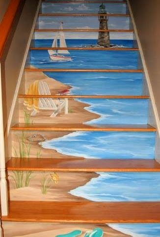 Beach art painted on staircase. Unique idea for a beach house!