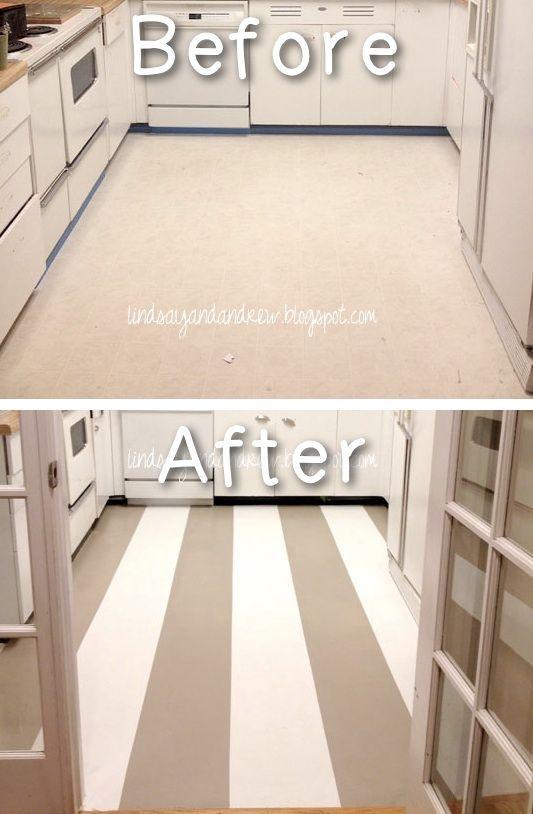 Paint linoleum tutorials and paint on pinterest for Can you paint linoleum floors