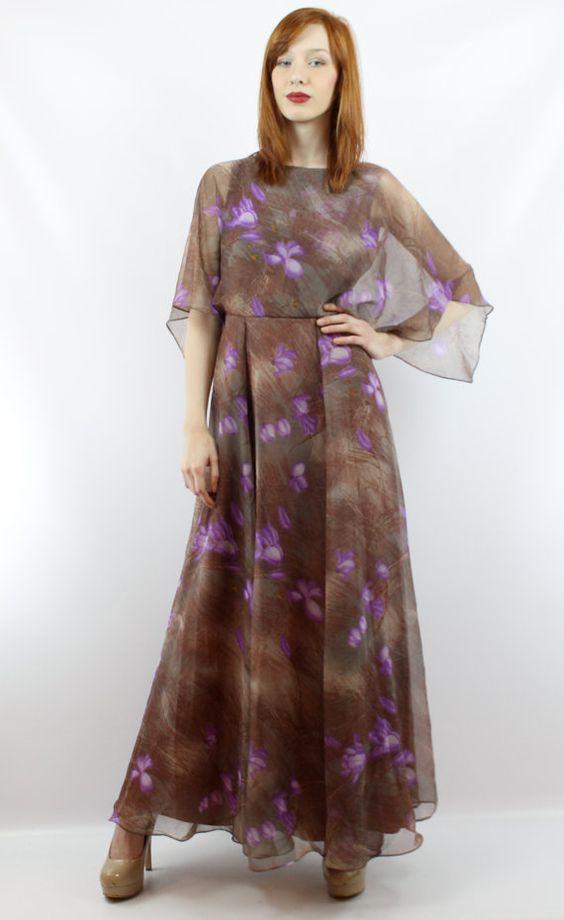 Vintage 70s Brown Floral Maxi Dress XS S Vintage Hippie by shopEBV