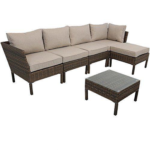 Sunnydaze Belgrano 6 Piece Outdoor Wicker Rattan Sofa Sectional Patio Furniture Set