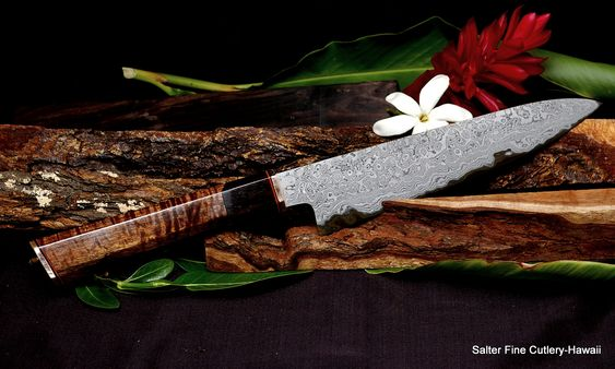 210mm hand forged collectible chef knife by salter fine cutlery shirogami damascus blade. Black Bedroom Furniture Sets. Home Design Ideas