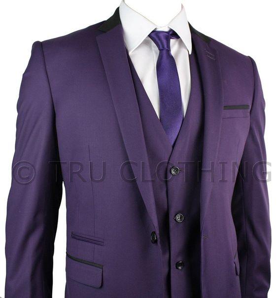 Details about Mens Slim Fit Purple 3 Piece Suit Black Trim Work