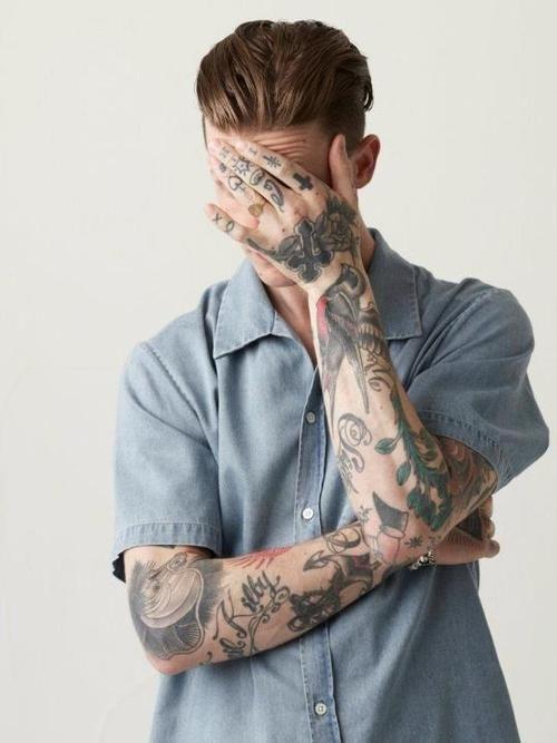 brid & script #finger #arm #tattoos