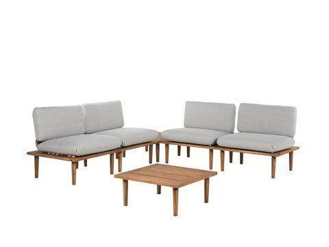 Gartenmobel 4er Set Akazienholz Hellgrau Frascati Beliani De Sitzgruppe Outdoor Sofa Sets Gartensofa