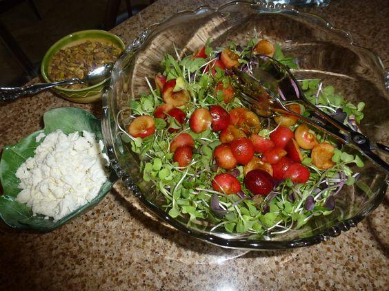 Cherry, pistachio, goat cheese & Arugula Salad  http://www.nytimes.com/2013/06/24/health/arugula-cherry-and-goat-cheese-salad.html?_r=0