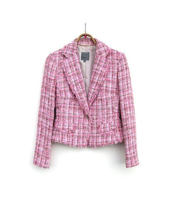 Vintage Tweed Jacket - Pink Tweed Blazer - Boucle Textured Top ...