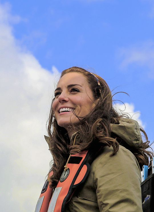 Catherine, Duchess of Cambridge, smiles as she joins Skidegate Youth Centre children on a fishing trip during the Royal Tour of Canada on September 30, 2016.