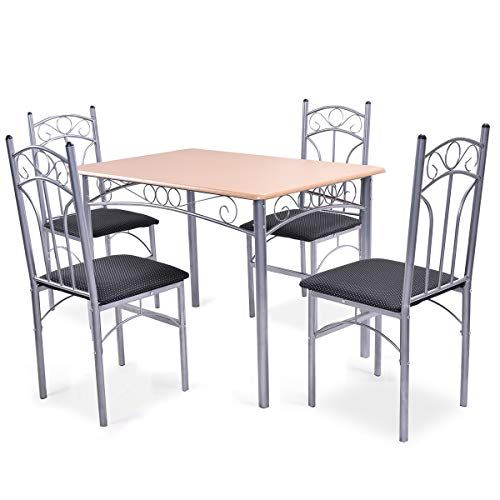 Giantex 5pcs Dining Room Table Set With 4 Chairs Metal Frame Wood