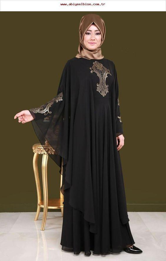 Tesettur Buyuk Beden Abiye Modelleri Kadinev Com Islami Giyim Siyah Abiye Abaya Modasi