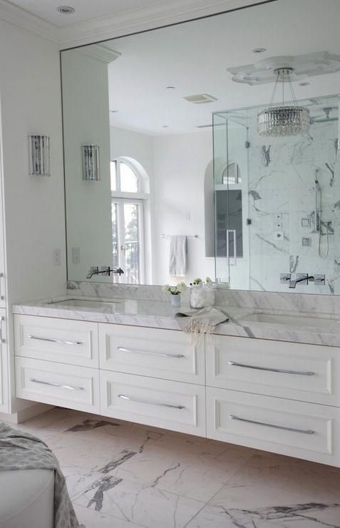 54 Premium Modern White Bathroom With White Cabinets Ideas In 2020 With Images White Marble Bathrooms Mirror Wall Bathroom Bathroom Interior