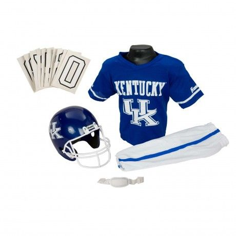 College Football Deluxe Uniform Set - Kentucky- Pass along the college football tradition to your young fan with this official College Football Deluxe Uniform Set. Included is an official team jersey, team helmet with authentic logo and team colors, and team pants that will have them looking ready to take the field. The set also includes iron-on numbers (0-9) for the back of the jersey. - See more at: http://franklinsports.com/shop/college-deluxe-uniform-set