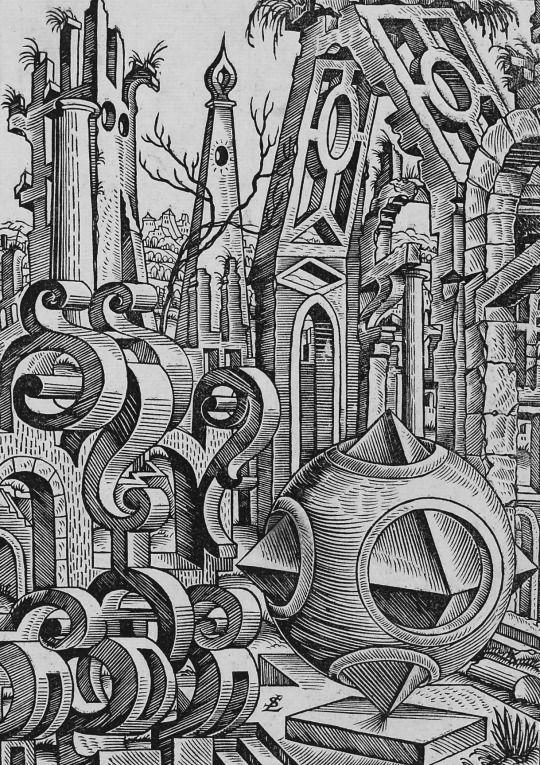 1567, Lorenz Stöer: Geometrische Körper und Architekturbauteile.