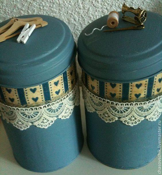 """Купить Шкатулка для шитья с баночками """"Скандинавская рукодельница"""" - голубой, шкатулка для шитья, шкатулка рукодельная"""