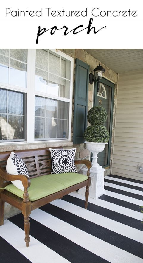 How To Paint Stripes On Your Front Porch Cuckoo4design Painted Porch Floors Concrete Front Porch Painted Concrete Porch