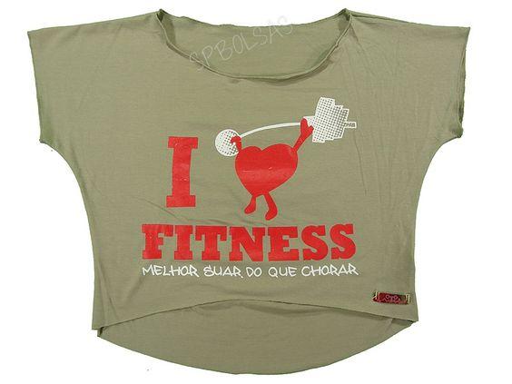 Blusas Femininas   Blusa Cropped I Love Fitness Melhor Suar Que Chorar Bege  Acesse: http://www.spbolsas.com.br/atacado/ #Regatas #Femininas #Atacado