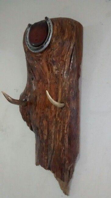 Cuernos de venado empotrados en madera de pino adorno y o colgar lo que gusten