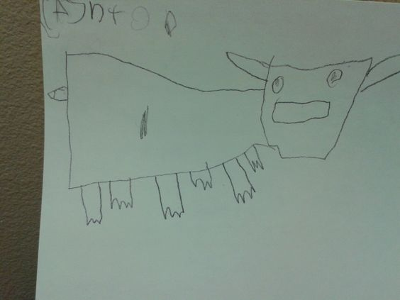 6 legged cow. It might have 6 legs, but this K student drew it himself.  memmottsartideas.com
