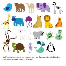 Cute, simple animals from openclipart.org