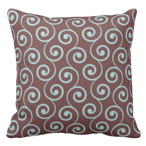 Fun Throw Pillows For Couch : Vintage Chocolate Swirl in Aqua Throw Pillow Plush Pillows Pinterest Fun, Brown and Pillows