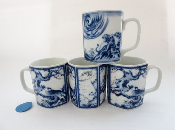 Porcelain Coffee or Tea Mug set of Four  White and Blue by Klassic