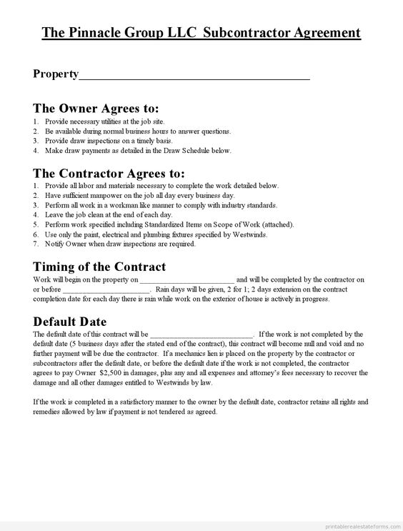 Printable Sample Subcontractor Agreement Form  Real Estate Forms