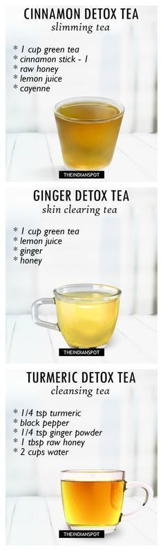 Specific tea recipes for cleansing and detox. Spice up your morning green tea with ingredients such as ginger, turmeric, cinnamon, honey, and cayenne. 3 recipes included. #healthy #drinks #diet
