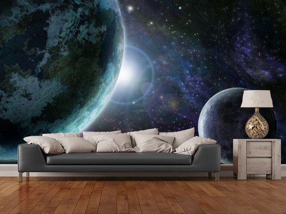 Blue planet earth wall mural room setting star trek ship for Earth rising wall mural