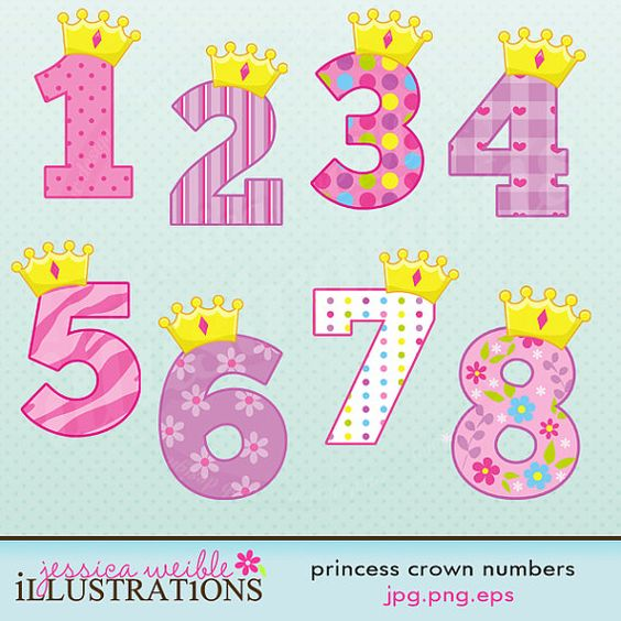 Princess Crown Numbers Cute Digital Clipart - Commercial Use OK ...