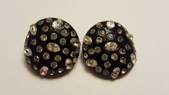 Vintage WEISS rhinestone Black Clip Earrings