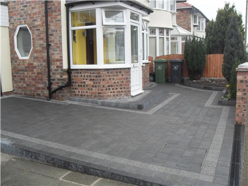Marshalls Argent Block Paving Driveway Liverpool - Front garden driveway ideas uk