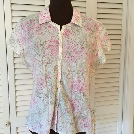 Cute button down Blouse.  Pink white and green.  Perfect for this time of year.  Excellent condition Cato Tops Button Down Shirts