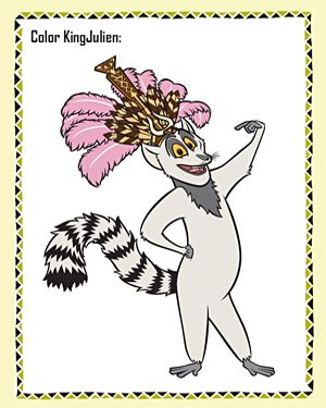 Color King Julien Printable Madagascar Coloring Page