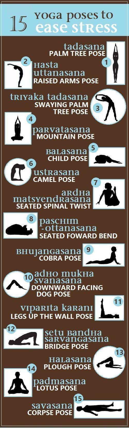 # 15 Yoga Poses to Reduced Stress # http://aoteayoga.com/: