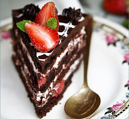Chocolate Cake with Balsamic Strawberry & Cream Filling