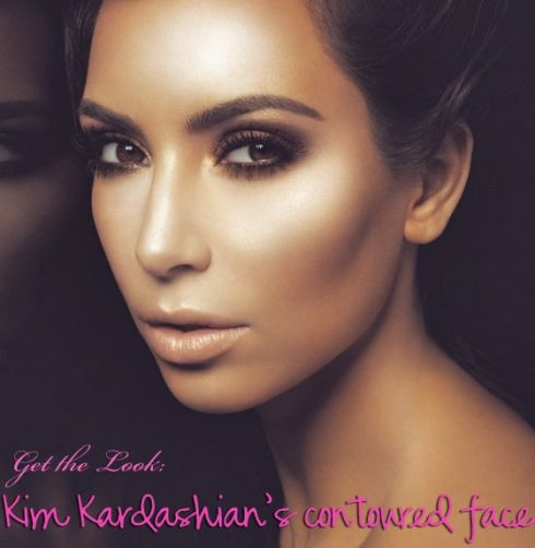 Kim Kardashian's contoured makeup technique