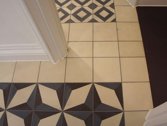 Interior floor treatment - patterned tiles.