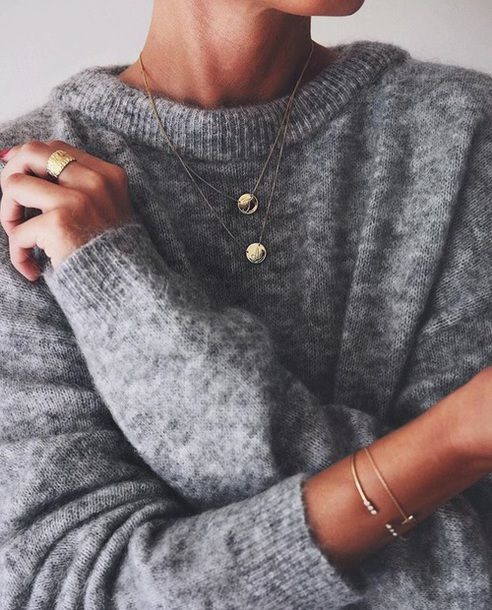 $35 Cute Small Simple Minimalist Gold Circle Pendant Necklace With Thing Gold Chain And Comfy Wool Grey Sweater