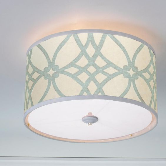 Trellis Linen Drum Shade Ceiling Light A classic trellis print on fine linen is…