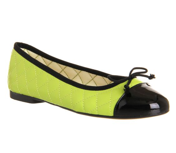 Office Cecilia Toe-cap Ballerina Lime Green Leather - Flats