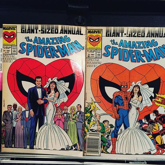 Wow comics are a trip. These two comics are the same issue but did you notice something about the groom in each???